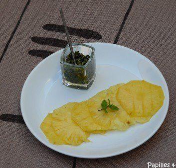 Carpaccio d'ananas au pesto de menthe