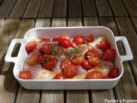Poulet aux tomates cerises, thym et vinaigre balsamique