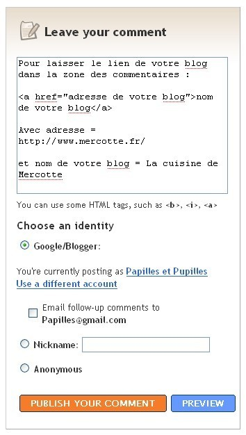 Commentaires Blogger