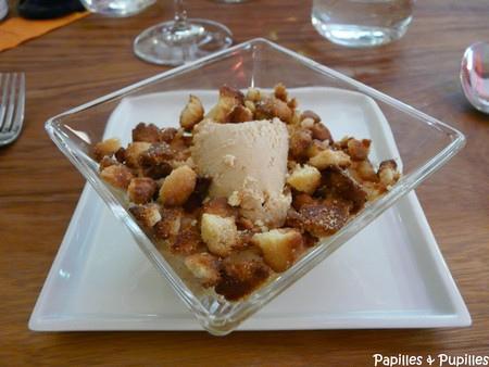 Crumble pommes coings, glace au cannelé - Cyusha Bordeaux