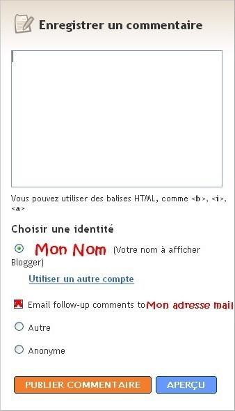 Copie d'écran Commentaires Blogger
