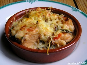 Cassolettes gratinées de Saint Jacques crevettes et saumon