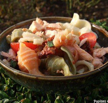 Salade de pâtes au saumon, tomates confites et basilic