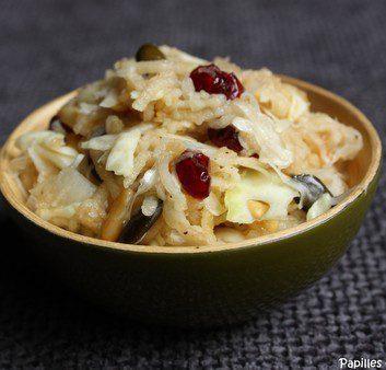 Salade aux pommes, chou blanc, airelles et gingembre