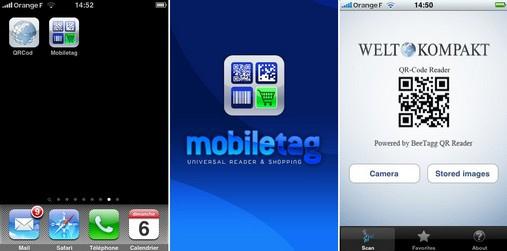 Copie ecran Iphone pour lecteur de QR codes