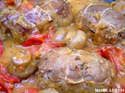 Paupiettes de veau aux tomates et au vin blanc