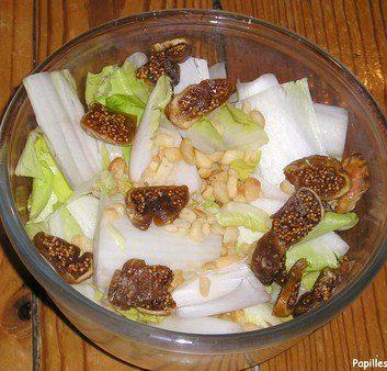 Salade d'endives, figues et noix de Macadamia