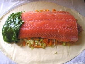 Saumon en croûte à la julienne de légumes