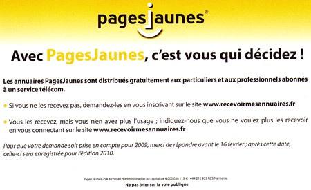Coupon réponse pages jaunes