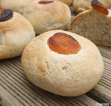 Petits pains au pavot et à l'abricot, à la levure liquide